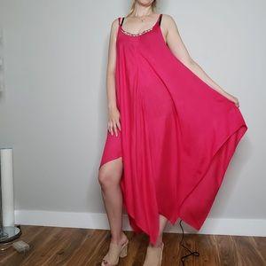 Fuchsia Cover-up a Sharkbite Hem Sleeves Dress M